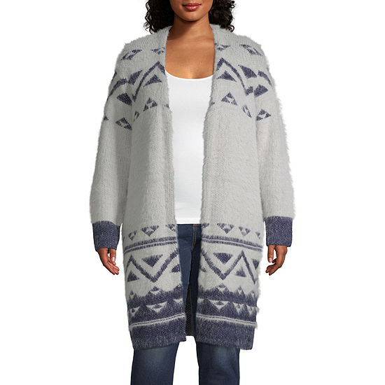 a.n.a Womens Open Neck Long Sleeve Open Front Cardigan - Plus