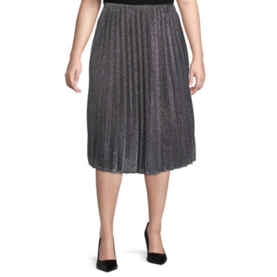 Worthington Womens Pleated Midi Skirt - Plus