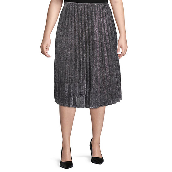 Worthington Womens Pleated Midi Skirt - Plus