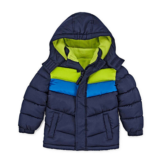 Okie Dokie - Boys Hooded Fleece Lined Water Resistant Heavyweight Puffer Jacket-Toddler