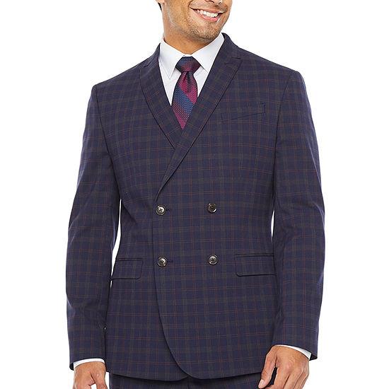 JF J.Ferrar-Slim Plaid Super Slim Fit Stretch Suit Jacket