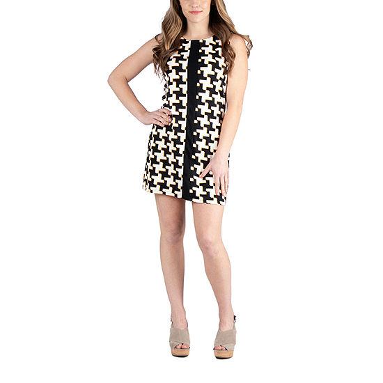 24/7 Comfort Apparel Sleeveless Abstract Mini Dress