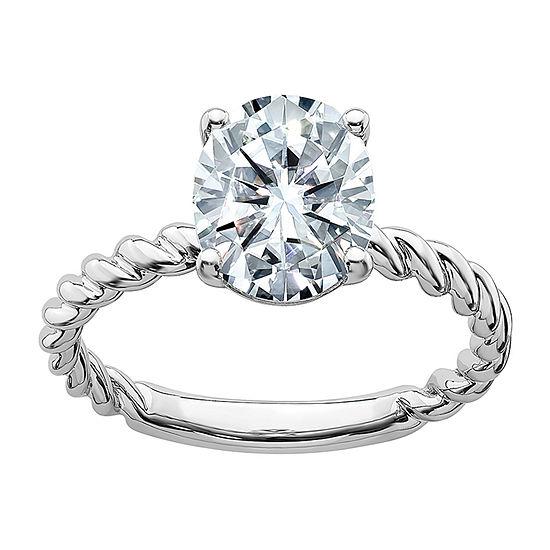 True Light Womens 1 7/8 CT. T.W. Lab Created White Moissanite 14K White Gold Engagement Ring
