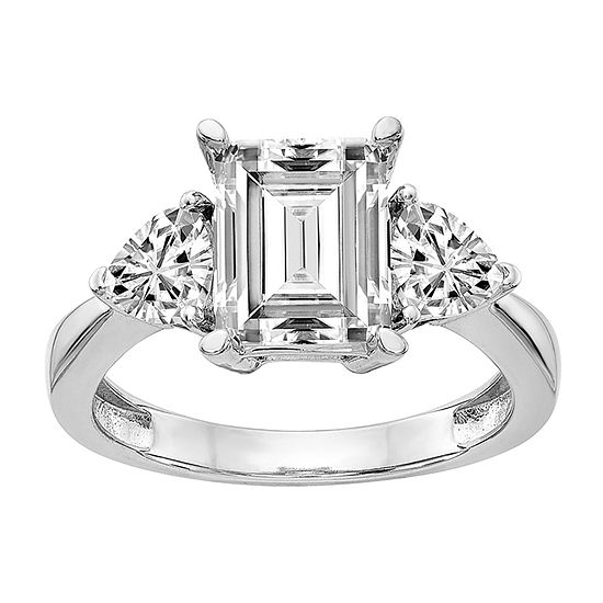 True Light Womens 5 1/4 CT. T.W. Lab Created White Moissanite 14K White Gold Engagement Ring