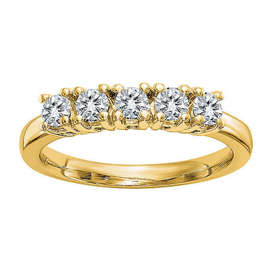 True Light Womens 2MM 1 CT. T.W. Lab Created White Moissanite 14K Gold Band