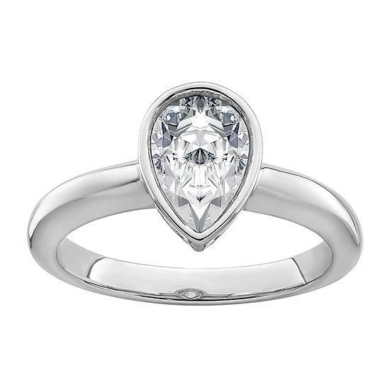 True Light Womens 1 1/3 CT. T.W. Lab Created White Moissanite 14K White Gold Engagement Ring