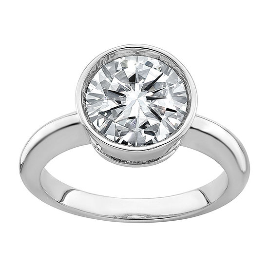 True Light Womens 2 1/4 CT. T.W. Lab Created White Moissanite 14K White Gold Engagement Ring