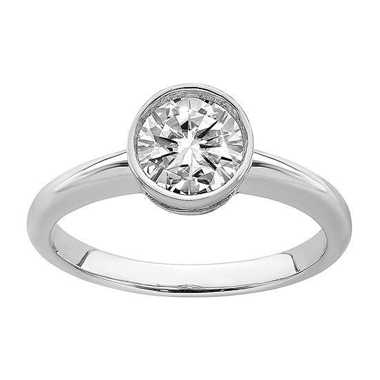 True Light Womens 7/8 CT. T.W. Lab Created White Moissanite 14K White Gold Engagement Ring