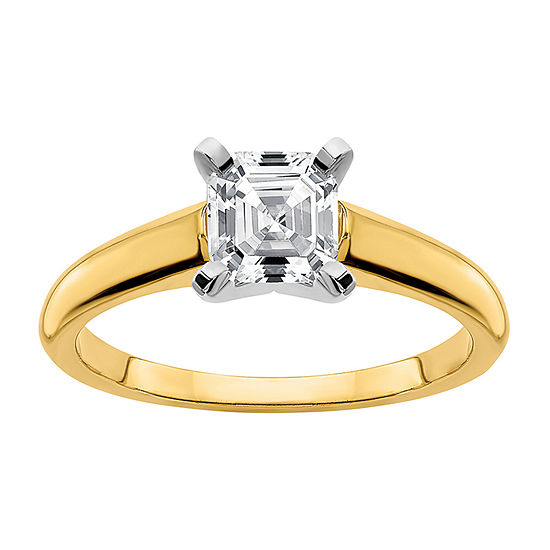 True Light Womens 1 1/5 CT. T.W. Lab Created White Moissanite 14K Two Tone Gold Solitaire Engagement Ring