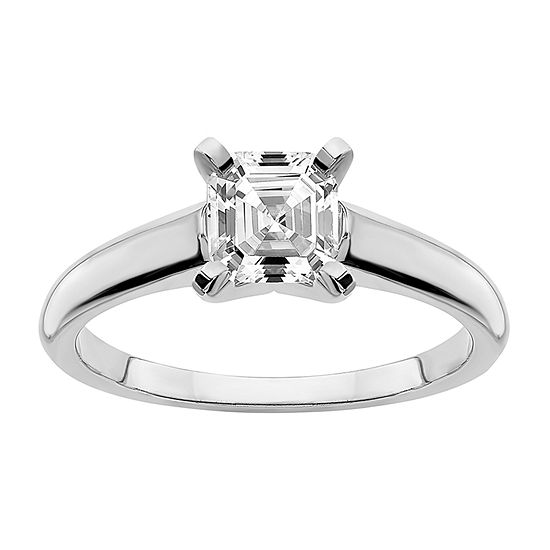 True Light Womens 1 1/5 CT. T.W. Lab Created White Moissanite 14K White Gold Solitaire Engagement Ring