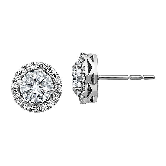 True Light 2 1/2 CT. T.W. Lab Created White Moissanite 14K White Gold 10.2mm Stud Earrings