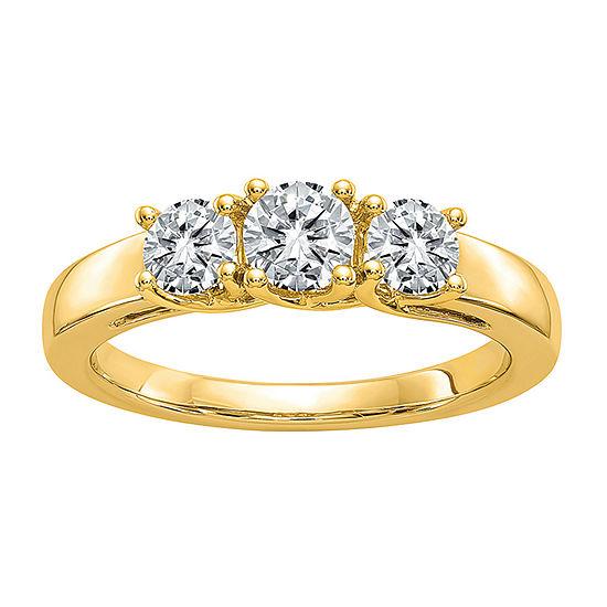True Light Womens 1 7/8 CT. T.W. Lab Created White Moissanite 14K Gold 3-Stone Engagement Ring