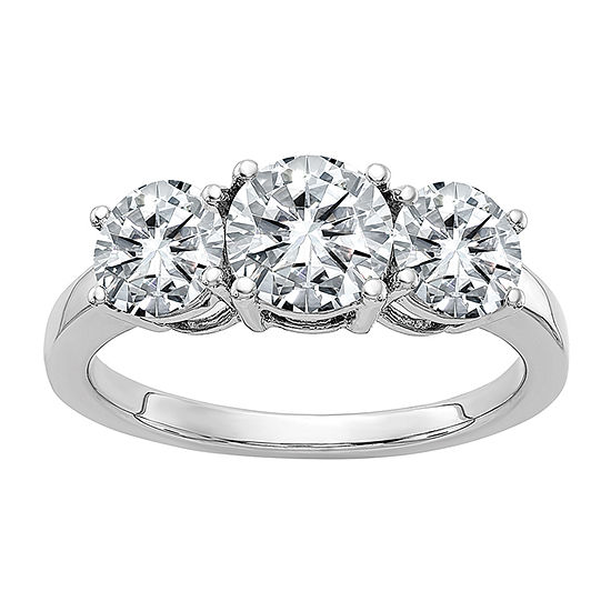 True Light Womens 2 1/4 CT. T.W. Lab Created White Moissanite 14K White Gold 3-Stone Engagement Ring