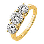 True Light Womens 2 1/4 CT. T.W. Lab Created White Moissanite 14K Gold 3-Stone Engagement Ring