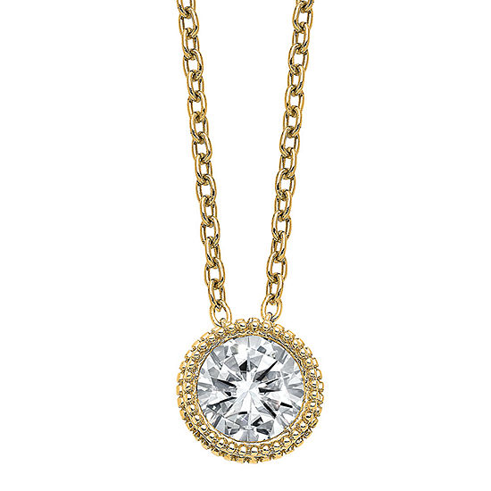 True Light Womens 1 1/2 CT. T.W. Lab Created White Moissanite 14K Gold Pendant Necklace