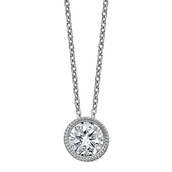 True Light Womens 7/8 CT. T.W. Lab Created White Moissanite 14K White Gold Pendant Necklace