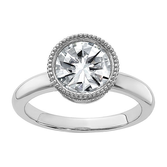 True Light Womens 1 5/8 CT. T.W. Lab Created White Moissanite 14K White Gold Engagement Ring