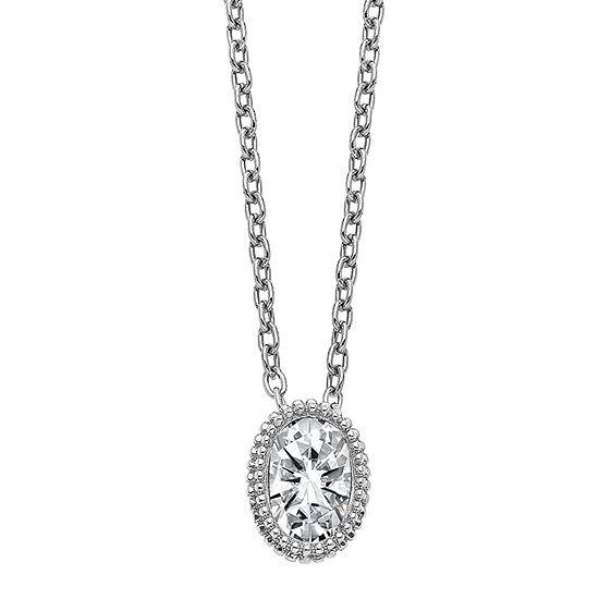 True Light Womens 3/8 CT. T.W. Lab Created White Moissanite 14K White Gold Pendant Necklace