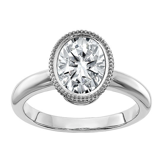 True Light Womens 2 3/4 CT. T.W. Lab Created White Moissanite 14K White Gold Engagement Ring