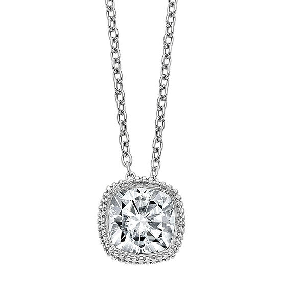 True Light Womens 1 1/5 CT. T.W. Lab Created White Moissanite 14K White Gold Pendant Necklace