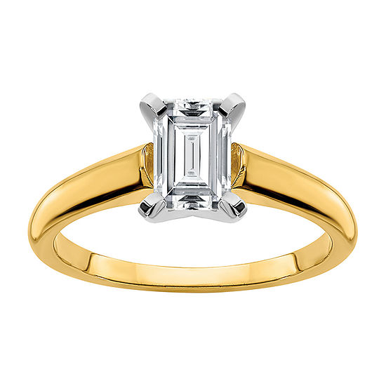 True Light Womens 1 1/2 CT. T.W. Lab Created White Moissanite 14K Two Tone Gold Solitaire Engagement Ring