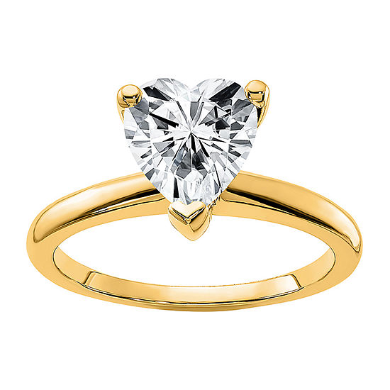 True Light Womens 1 CT. T.W. Lab Created WhiteMoissanite 14K Gold Solitaire Engagement Ring