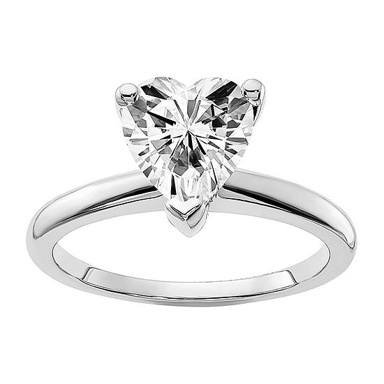 True Light Womens 1 CT. T.W. Lab Created White Moissanite 14K White Gold Solitaire Engagement Ring