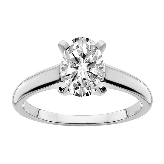 True Light Womens 1 1/3 CT. T.W. Lab Created White Moissanite 14K White Gold Solitaire Engagement Ring