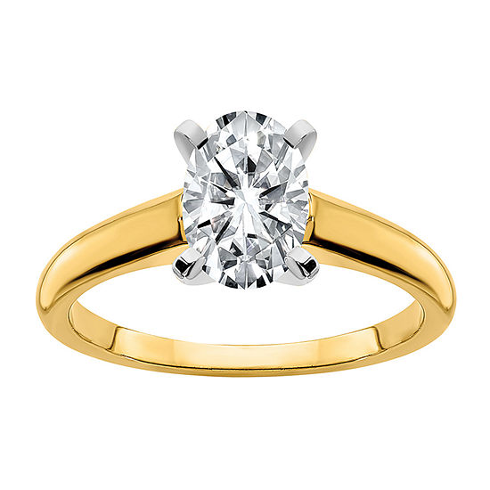 True Light Womens 2 3/4 CT. T.W. Lab Created White Moissanite 14K Two Tone Gold Solitaire Engagement Ring