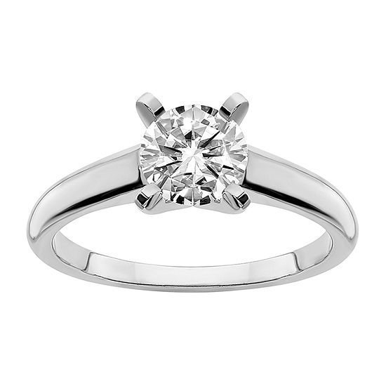 True Light Womens 2 CT. T.W. Lab Created White Moissanite 14K White Gold Engagement Ring