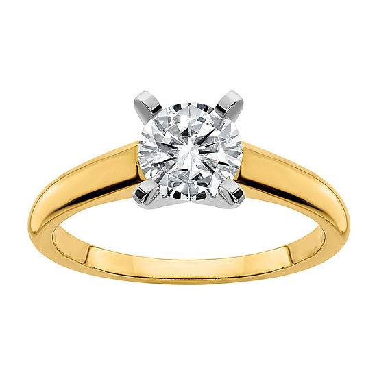 True Light Womens 3 CT. T.W. Lab Created White Moissanite 14K Two Tone Gold Engagement Ring