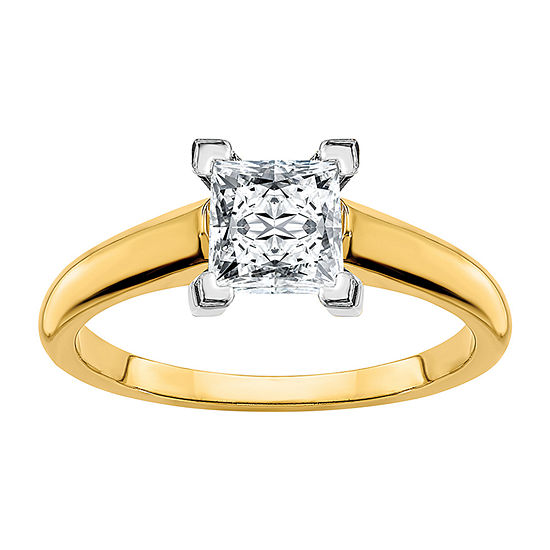 True Light Womens 1 1/5 CT. T.W. Lab Created White Moissanite 14K Two Tone Gold Engagement Ring