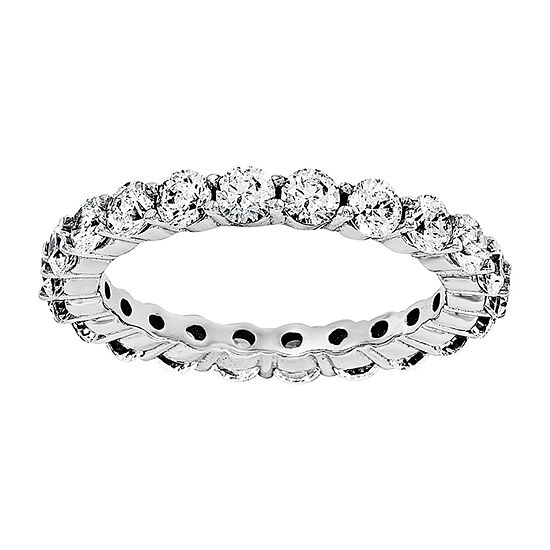 True Light Womens 3MM 2 1/3 CT. T.W. Lab Created White Moissanite 14K White Gold Eternity Band