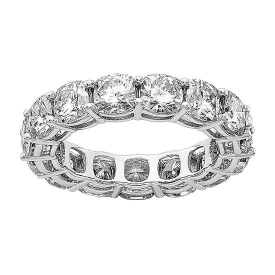 True Light 4.5MM Lab Created White Moissanite 14K White Gold Eternity Band