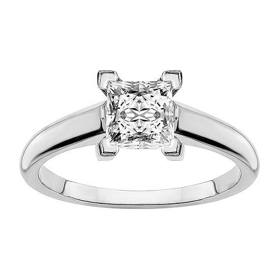 True Light Womens 1 1/2 CT. T.W. Lab Created White Moissanite 14K White Gold Engagement Ring