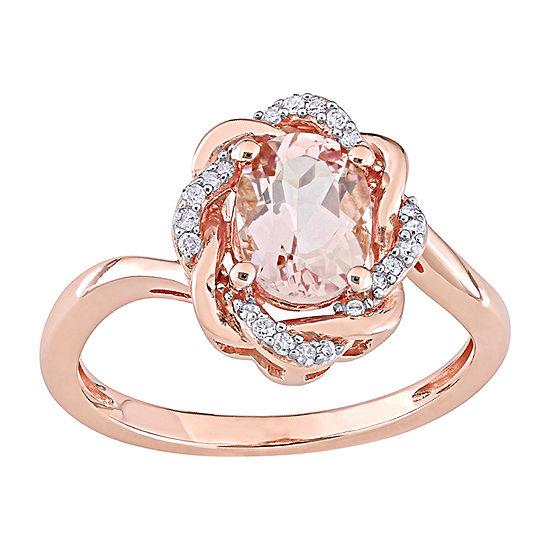 Womens 1/10 CT. T.W. Genuine Pink Morganite 10K Rose Gold Cocktail Ring