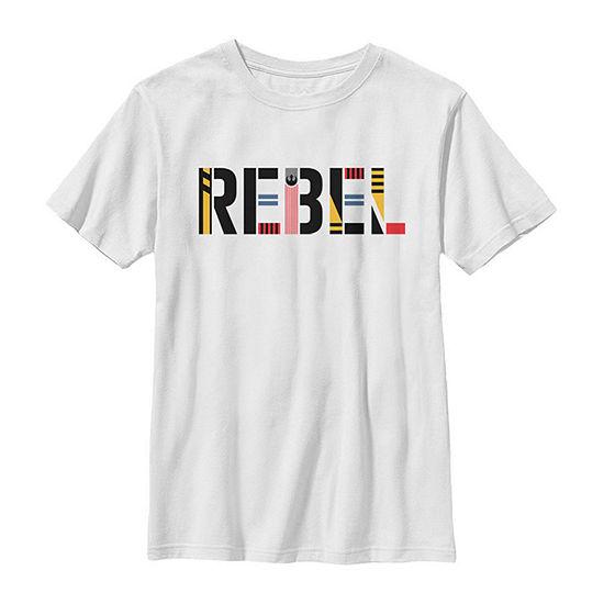 Rebel Pattern Text - Big Kid Boys Slim Crew Neck Star Wars Short Sleeve Graphic T-Shirt
