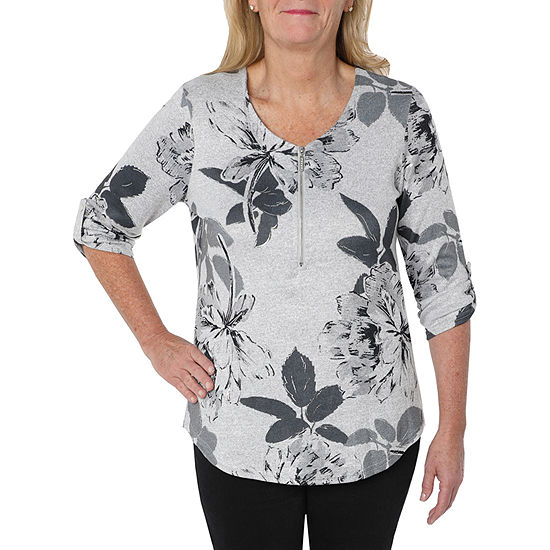 Cathy Daniels Rose Petal-Womens V Neck 3/4 Sleeve T-Shirt