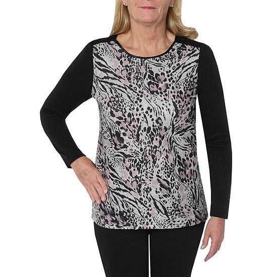 Cathy Daniels Rose Petal-Womens Crew Neck Long Sleeve T-Shirt