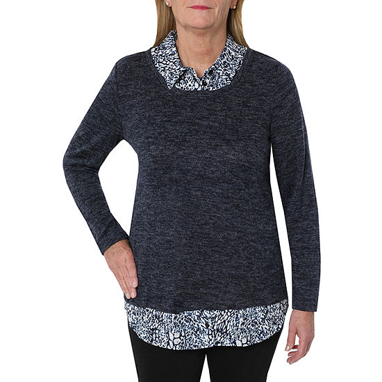 Cathy Daniels Two For One Womens Long Sleeve Layered Top