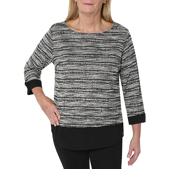 Cathy Daniels Two For One Womens Round Neck 3/4 Sleeve Layered Top