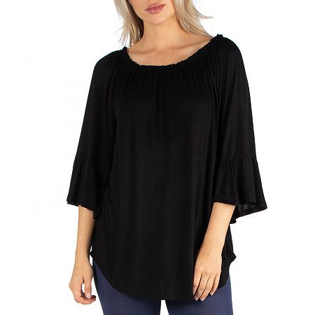 24/7 Comfrot Apparel Pleated Peasant Top, Small , Black