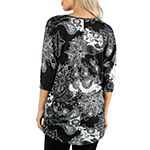24/7 Comfort Apparel Black Floral Tunic