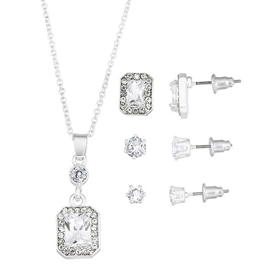 Sparkle Allure Holiday Light Up Box 4-pc. Cubic Zirconia Pure Silver Over Brass Rectangular Jewelry Set