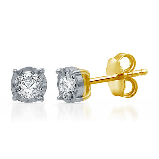 1/3 CT. T.W. Genuine White Diamond 10K Gold 5.3mm Stud Earrings