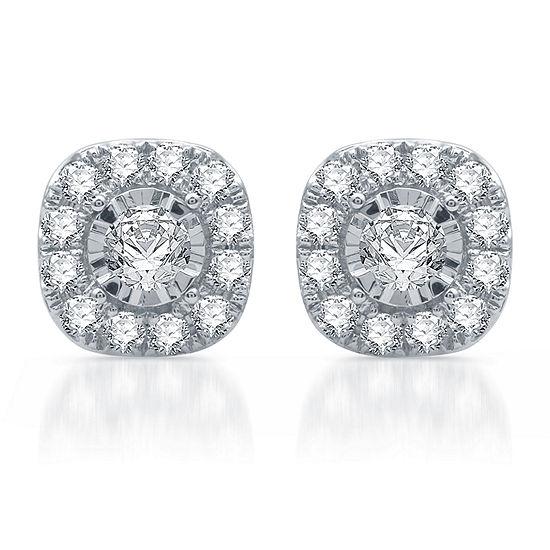 1 CT. T.W. Genuine White Diamond Sterling Silver Stud Earrings