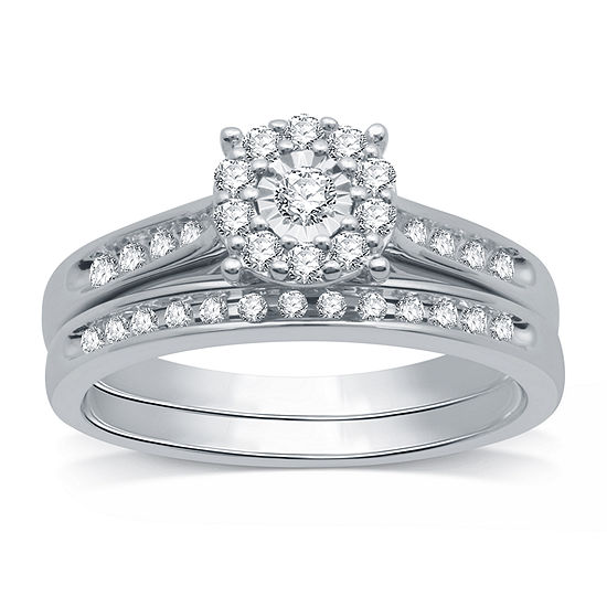 I Said Yes Womens 3/8 CT. T.W. Lab Grown White Diamond Sterling Silver Round Bridal Set