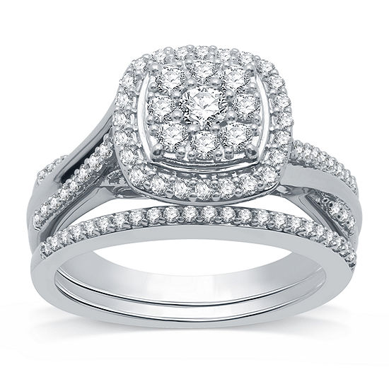 I Said Yes Womens 3/4 CT. T.W. Lab Grown White Diamond Sterling Silver Bridal Set