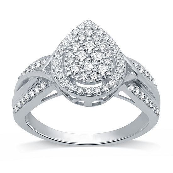 I Said Yes Womens 1/2 CT. T.W. Lab Grown White Diamond Sterling Silver Engagement Ring