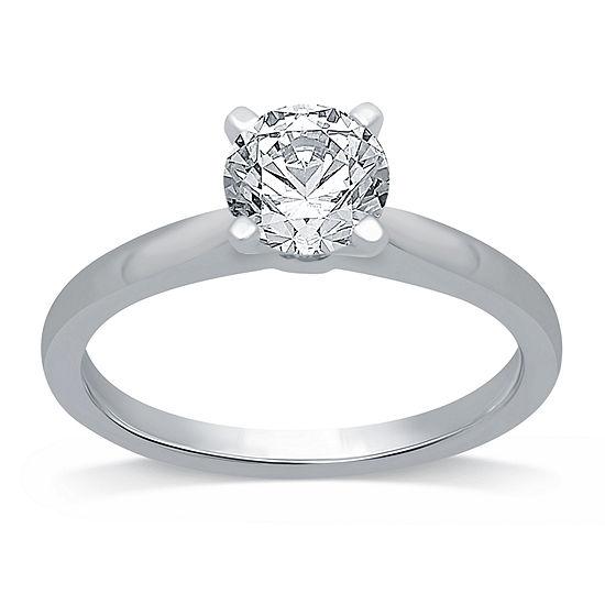 Womens 2 CT. T.W. Genuine White Diamond 14K White Gold Round Solitaire Engagement Ring